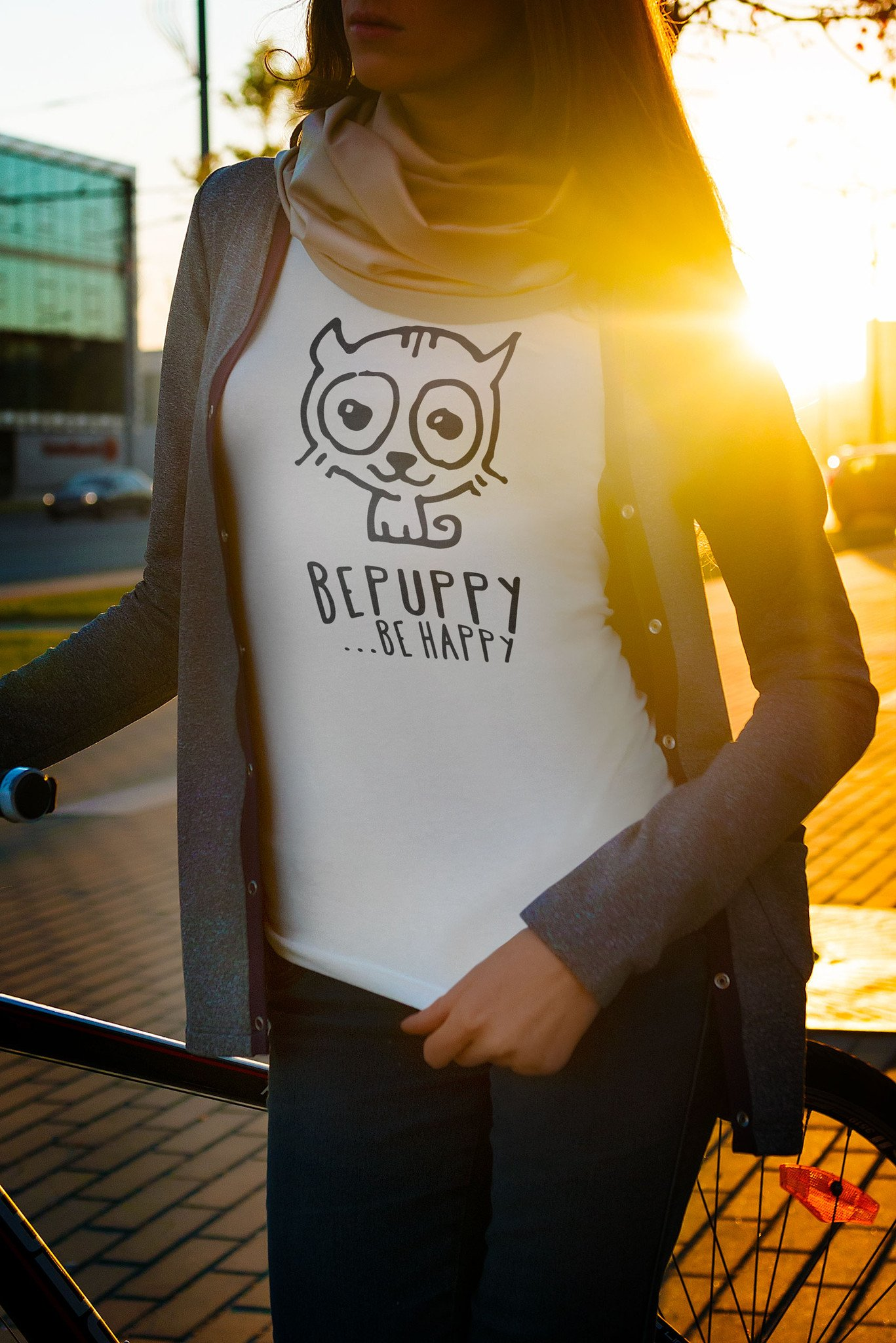 Women t-shirts bepuppy be happy! Cat lover t-shirts - BEPUPPY